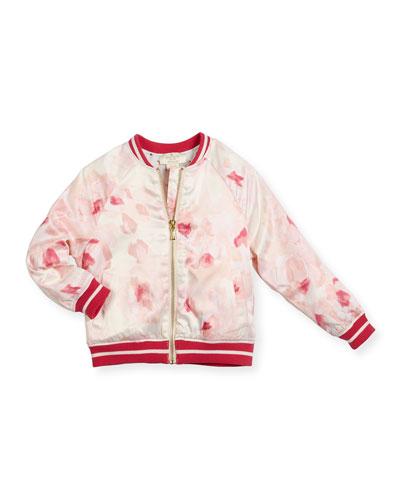 desert rose satin varsity jacket, multicolor, size 2-6