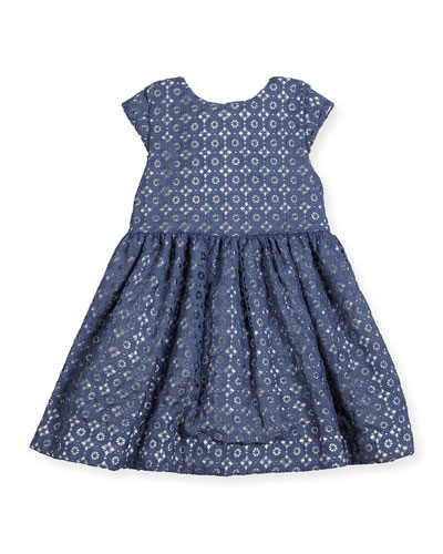 kimberly cap-sleeve smocked medallion lace dress, blue, size 2-6
