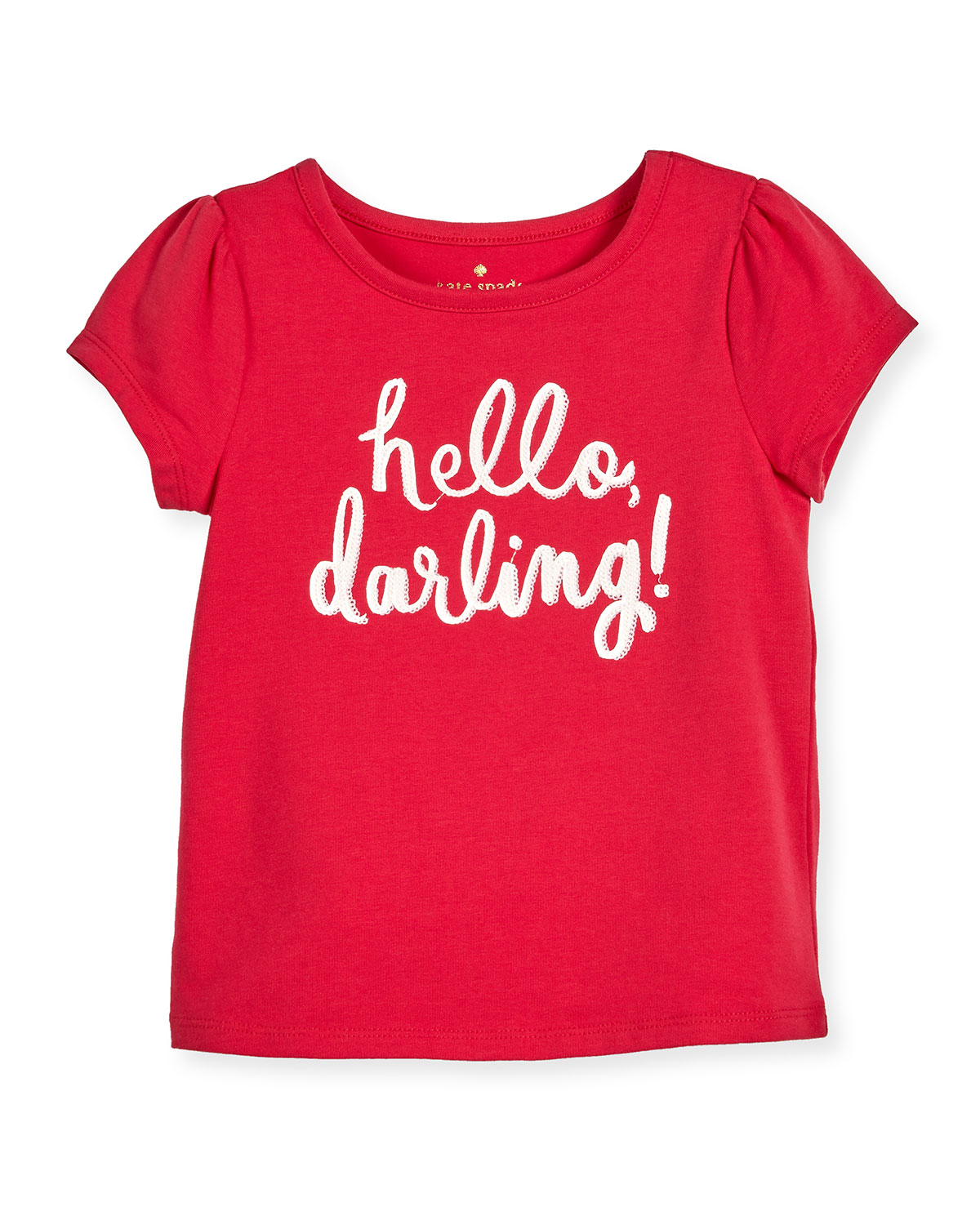 hello darling stretch jersey tee, pink, size 7-14