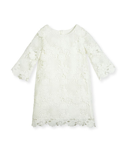 Nelly 3/4-Sleeve Floral Lace Shift Dress, White, Size 5-8