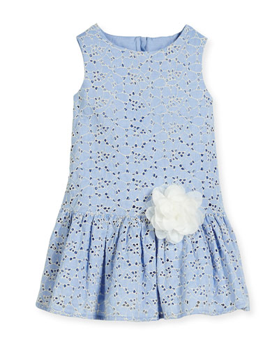 Linda Sleeveless Smocked Floral Chambray Dress, Blue, Size 10-12