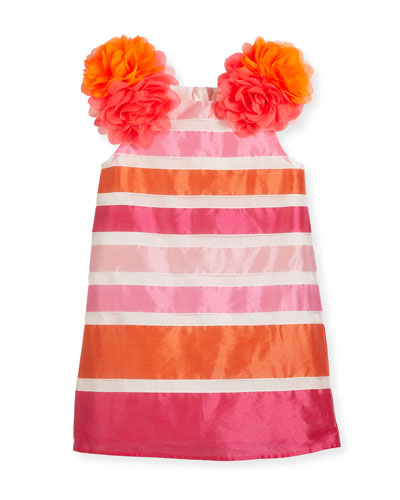 Nelly Sleeveless Striped Taffeta Pompom Dress, Pink, Size 2-4
