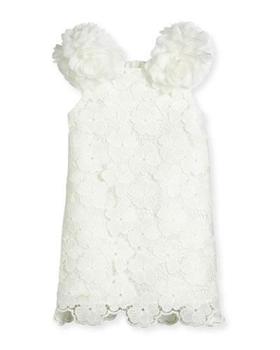 Sleeveless Floral Lace Pompom Dress, White, Size 2-4