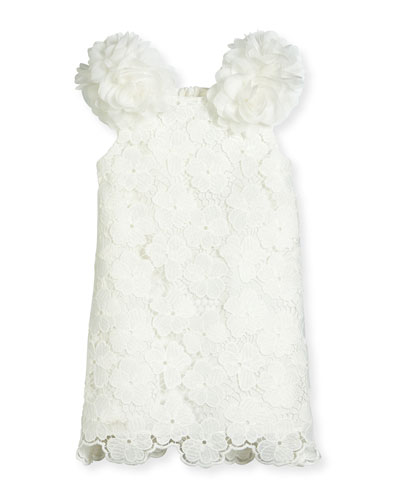 Sleeveless Floral Lace Pompom Dress, White, Size 10-12