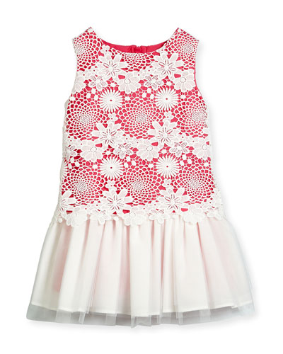 Nelly Sleeveless Lace & Tulle Shift Dress, Pink, Size 10-12