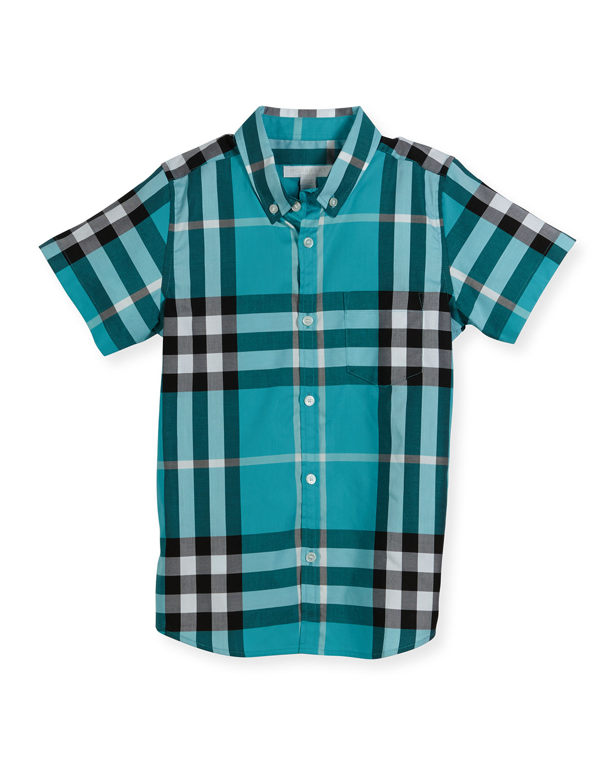 Mini Fred Short-Sleeve Check Shirt, Cyan Green, Size 4-14