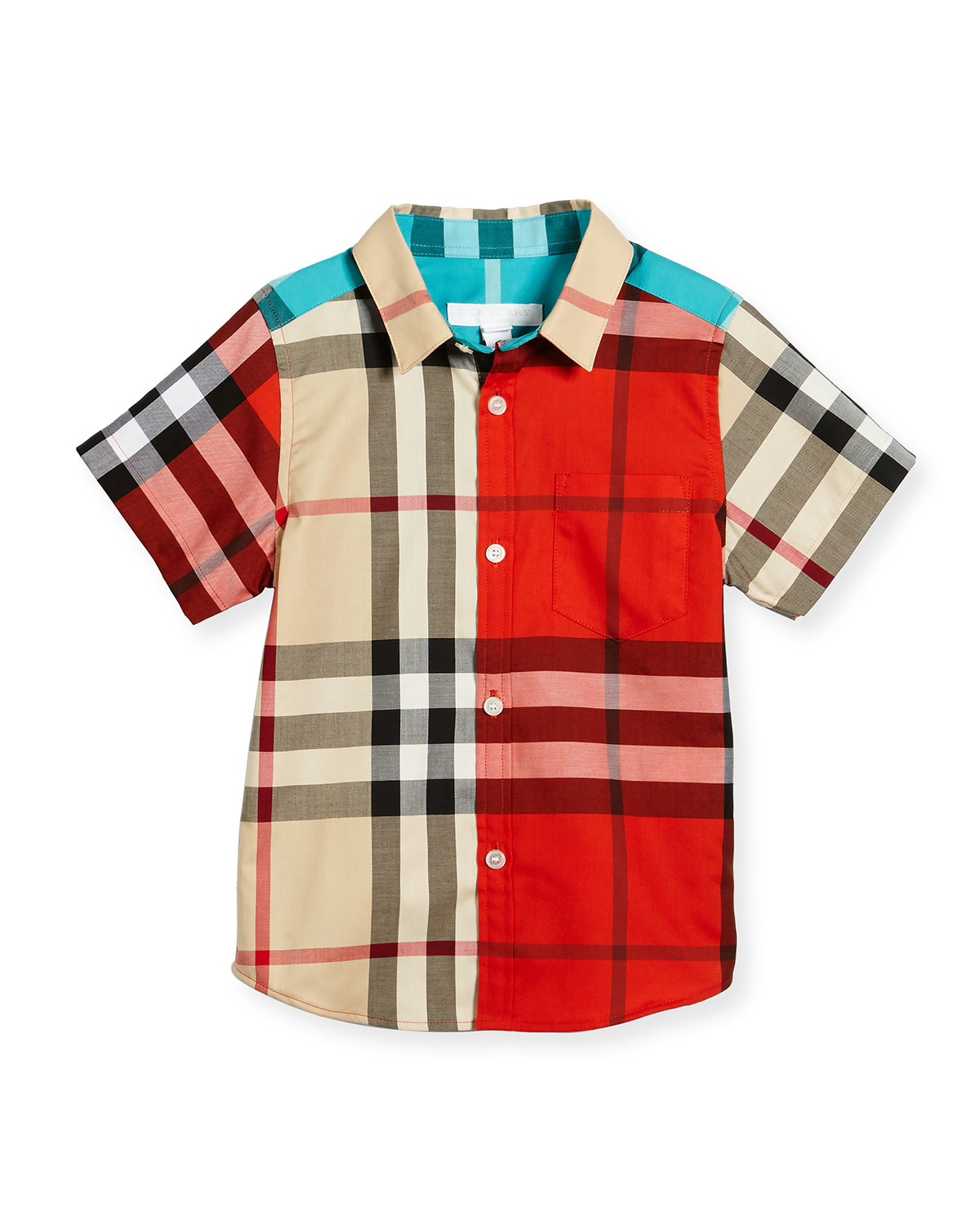 Frederick Plaid Short-Sleeve Shirt, Neutral Pattern, 4-14