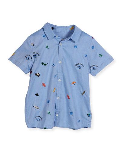 Clarkey Nautical Cotton Oxford Shirt, Medium Blue, Size 4-14