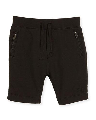 Monty Jersey Bermuda Shorts, Black, Size 4-14