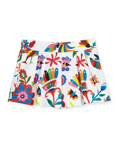 Pleated Canvas Folkloric Shorts, Multicolor, Size 8-16