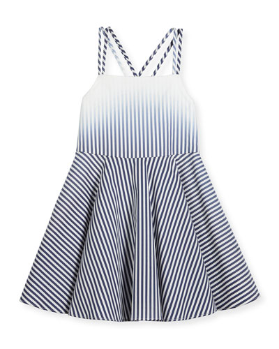 Ombre Stripe Poplin Fit-and-Flare Dress, Blue, Size 4-7