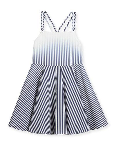 Ombre Stripe Poplin Fit-and-Flare Dress, Blue, Size 4-7