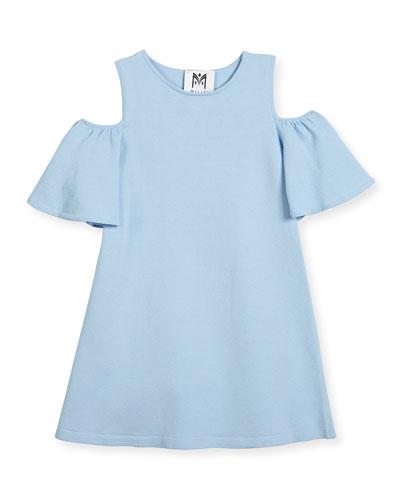 Cold-Shoulder Ponte Dress, Blue, Size 8-16