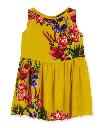 Silk Crepe Bead-Trim Dress, Yellow, Size 4-6