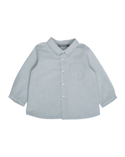 Long-Sleeve Striped Cotton Shirt, Blue, Size 6M-2
