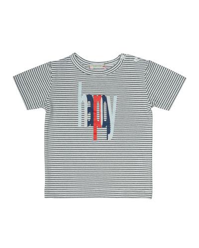 Striped Jersey Happy Tee, Blue/White, Size 6M-2