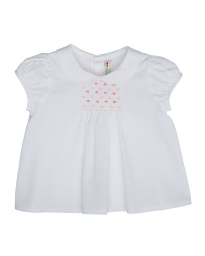 Cap-Sleeve Embroidered Cotton Blouse, White, Size 6M-2