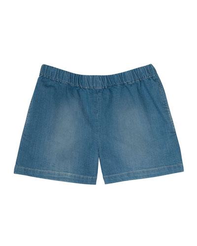 Enjoy Faded Denim Shorts, Blue, Size 3-8