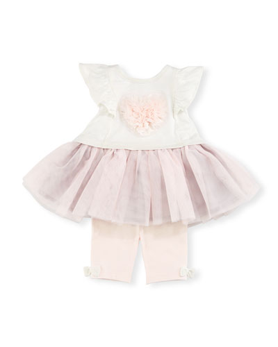 Sleeveless Jersey & Tulle Dress w/ Leggings, Pink/Gray, Size 6-24 Months