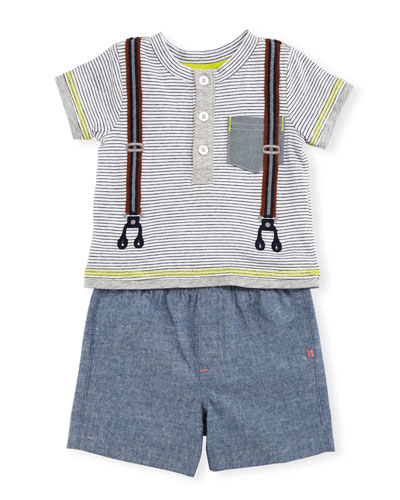 Short-Sleeve Striped Henley Tee w/ Chambray Shorts, Gray, Size 6-24 Months