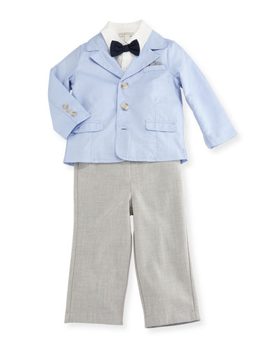 Oxford Blazer, Jersey Shirt & Straight-Leg Pants, Blue, Size 12-24 Months