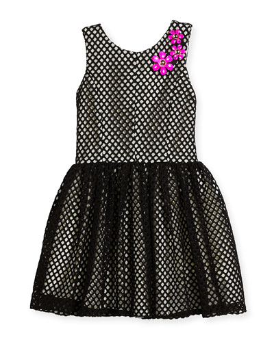 Sleeveless Smocked Mesh Dress, Black/White, Size 7-16