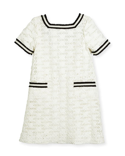 Short-Sleeve Lattice Shift Dress, White, Size 4-6X