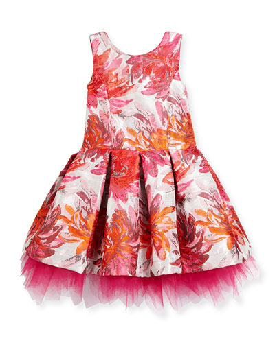 Sleeveless Pleated Floral Brocade Dress, Pink, Size 2-6X