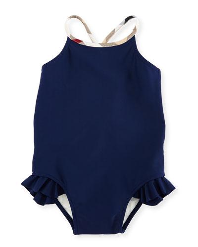 Lundy Ruffle-Trim Cross-Back Swimsuit, Navy, Size 6M-3