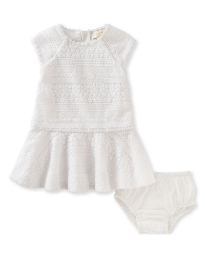 mixed-lace raglan circle dress w/ bloomers, white, size 12-24 months