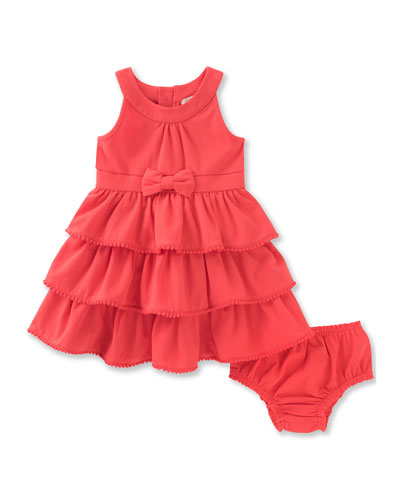 sleeveless tiered stretch jersey dress w/ bloomers, red, size 12-24 months