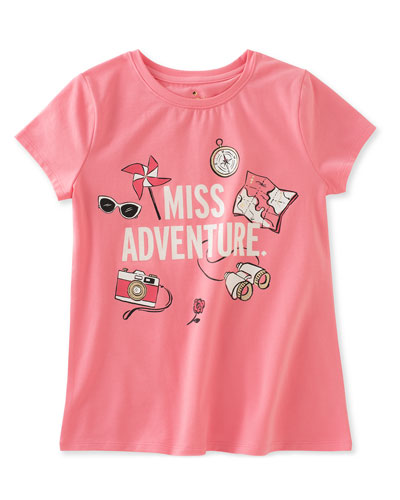 miss adventure stretch jersey tee, pink, size 2-6