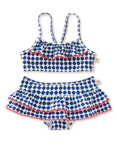 quatrefoil skirted ruffle bikini, blue, size 7-14