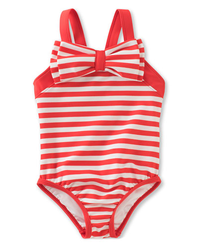striped one-piece swimsuit, red, size 7-14