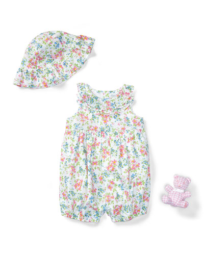 Three-Piece Floral Cotton Batiste Gift Set, Pink/White, Size 3-12 Months