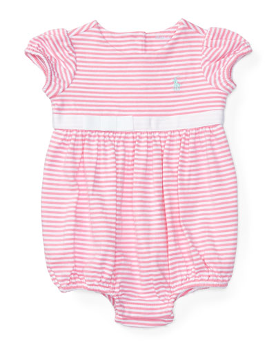 Cap-Sleeve Striped Bubble Playsuit, Garden Rose/Pure White, Size 3-18 Months