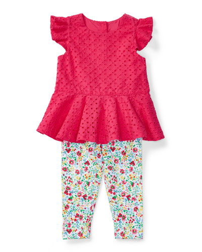Sleeveless Eyelet Top w/ Floral Leggings, Baja Pink, Size 6-24 Months