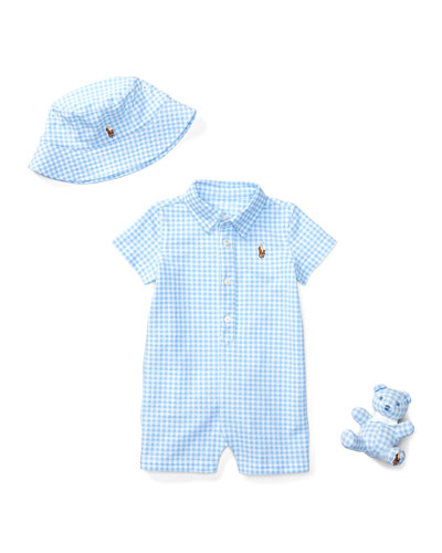 Three-Piece Gingham Shortall Gift Set, Blue/White, Size 3-12 Months