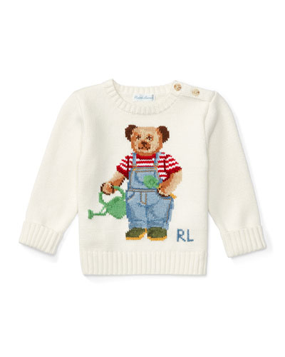 Cotton Icon Bear Pullover Sweater, Warm White, Size 6-24 Months