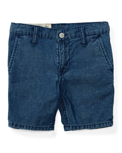 Cotton Denim Straight-Leg Shorts, Justin Wash, Size 2-4