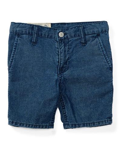 Cotton Denim Straight-Leg Shorts, Justin Wash, Size 5-7