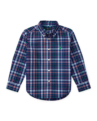 Long-Sleeve Plaid Cotton Poplin Shirt, Royal Blue/Multicolor, Size 5-7