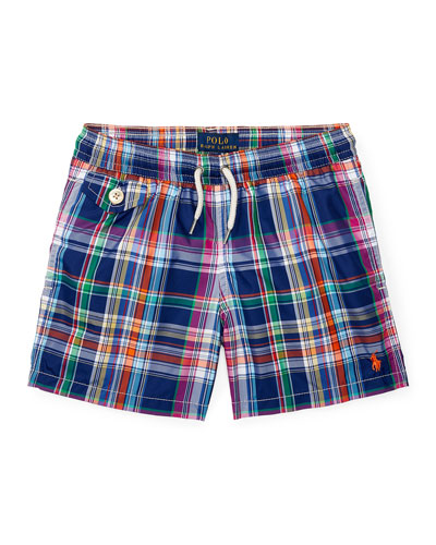 Traveler Cruise Plaid Board Shorts, Blue, Size 2-4