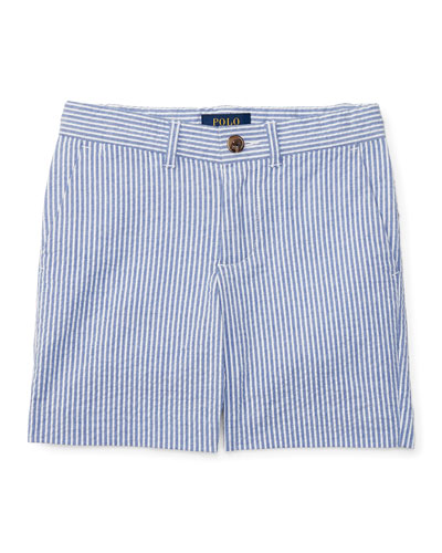 Striped Stretch Seersucker Shorts, Provincetown Blue, Size 2-4