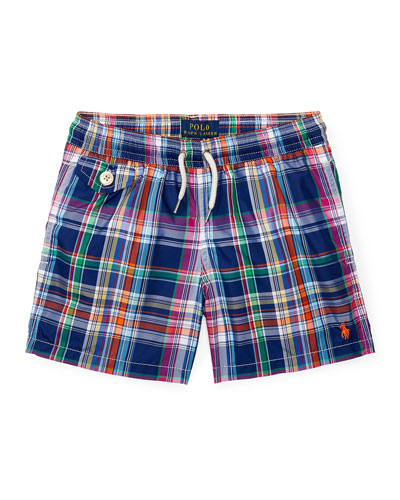 Traveler Cruise Plaid Board Shorts, Blue, Size 5-7