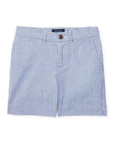 Striped Stretch Seersucker Shorts, Provincetown Blue, Size 5-7