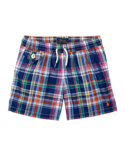 Traveler Cruise Plaid Board Shorts, Blue, Size 9-24 Months
