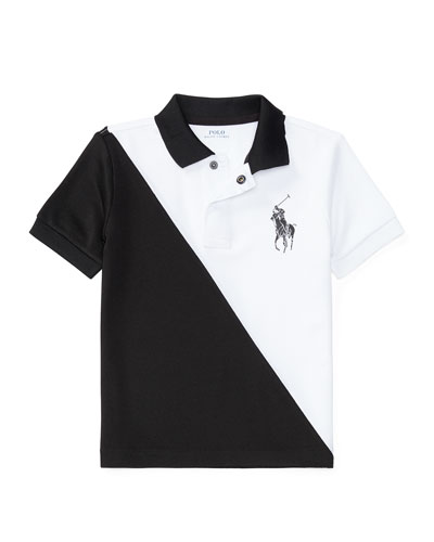 Colorblock Stretch Mesh Polo Shirt, Pure White/Black, Size 2-4