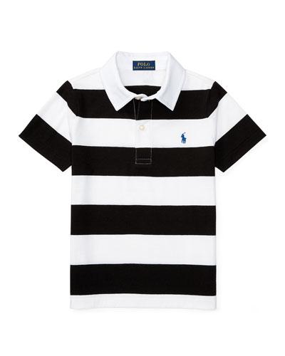 Striped Jersey Polo Shirt, Polo Black/White, Size 5-7