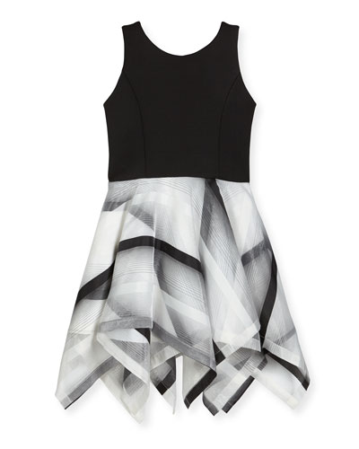 Layla Sleeveless Scuba & Organza Handkerchief Dress, Black/White, Size 7-16